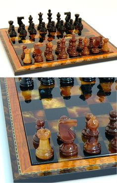 a wide variety of stone chess sets. Illuminated onyx chess sets, geometric, pebblez people and Chess Pieces, Game Pieces, Chess Set Unique, How To Play Chess, Alabaster Stone, Chess Players, Kings Game, Chess Sets, Board Games