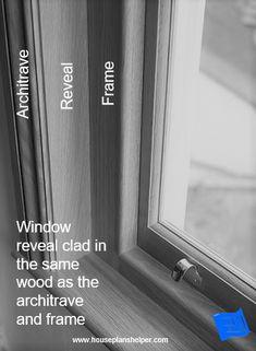 The window reveal is the walls immediately surrounding your windows and offers some interesting design opportunities. Bay Window Design, Door Design, Blueprint Symbols, Floor Plan Symbols, Interior And Exterior Angles, Free Floor Plans, Window Reveal, Safe Door, Window Detail