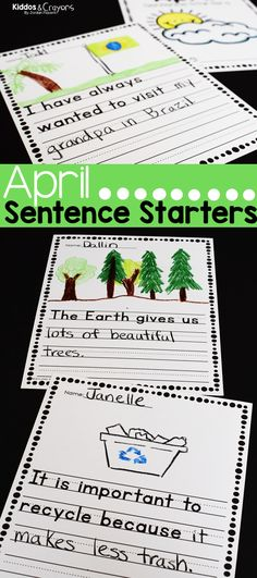 Seasonal prompts always help to keep my first grade students engaged. This pack of sentence starters writing prompts includes themes of Earth Day, and spring. First Grade Science, First Grade Writing, First Grade Activities, Teaching First Grade, Kindergarten Activities, Writing Activities, Student Learning, Teaching Resources, Teaching Ideas
