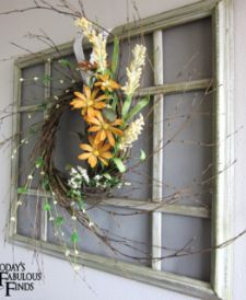 Hang window (repurposed pix frame) on foyer wall and change out seasonal wreaths