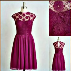 Modcloth adorable dress NWOT Lace top fuchsia dress 3x 22/24 ModCloth Dresses