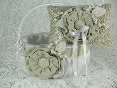 Wedding Flower Girl Basket/ Ring Bearer Pillow Set by EuphoriaRoad, $48.00