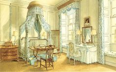 The blue and white bedroom at Ditchley Park.  Watercolor by Alexandre Serebriakoff.