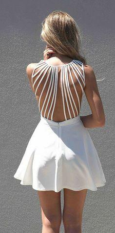 White Sleeveless Dress with Lattice Open Back