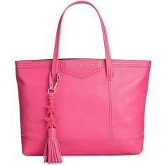 Tommy Hilfiger Th Extra-Large Tassel Shopper Tote (7,875 PHP) ❤ liked on Polyvore featuring bags, handbags, tote bags, geranium, pebbled leather tote, tommy hilfiger purses, tote purses, pink tote handbags and pink handbags
