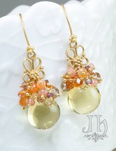 Marigold Earrings ... Lemon Quartz, Spessartite, Rhodochrosite, Carnelian, Citrine, 24k gold vermeil hooks by JewelleryHaven