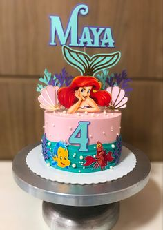 Ariel Cake, Mermaid Birthday Cakes, Merian, Diy And Crafts, Sweet Treats, Happy Birthday, Mary, Cupcakes, Scrapbook