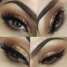 Glitter blended into warm brown and black winged eyeliner Formal Makeup, Prom Makeup, Bridal Makeup, Wedding Makeup, Hair Makeup, Facial, Smokey Eye For Brown Eyes, Thick Eyebrows, Winged Eyeliner