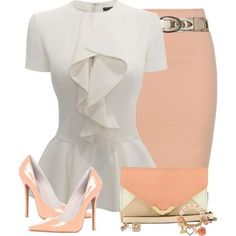 """Vety pretty, but without the jewelry.""""Peach Skirt and Ivory Top"""" by daiscat on. Work Fashion, Fashion Looks, Fashion Outfits, Womens Fashion, Fashion Tips, Fashion Trends, White Fashion, Skirt Fashion, Diy Fashion"""