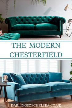 If you want to update your home decor with some of the latest trends then you need a modern chesterfield sofa. Compact, stylish and comfortable, these velvet chesterfields are very popular and fashionable, and modern velvet sofas are everywhere right now! Sofa Bed Design, Living Room Sofa Design, Home Living Room, Living Room Furniture, Living Room Decor, Furniture Design, Chesterfield Living Room, Velvet Chesterfield Sofa, Latest Sofa Designs