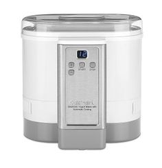 Cuisinart White Yogurt Maker at Lowe's. Today's health-conscious consumers want to eat right. The Cuisinart Electronic Yogurt Maker with Automatic Cooling turns milk and soymilk into Small Kitchen Appliances, Kitchen Gadgets, Home Appliances, Baking Gadgets, Kitchen Tips, Kitchen Ideas, Best Yogurt Maker, Specialty Appliances, Homemade Yogurt