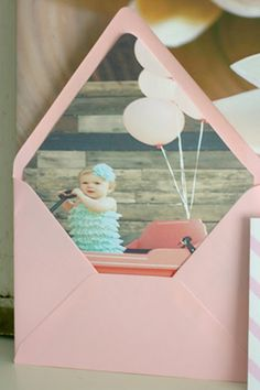 custom pink first birthday party invitation photo envelope liner of the birthday girl