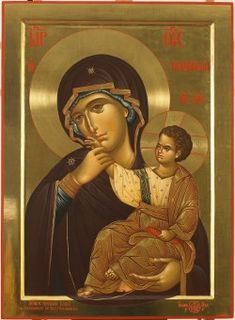 The Comfort & Consolation Icon of the Theotokos / Most Holy Theotokos Pray for us! Byzantine Icons, Byzantine Art, Blessed Mother Mary, Blessed Virgin Mary, Religious Icons, Religious Art, Religion, Mama Mary, Russian Icons