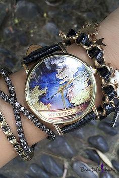 Vintage World Map Women's Watches