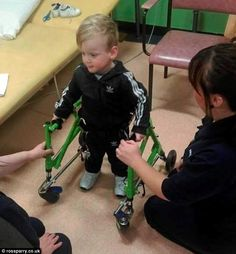 Archie Garthwaite was born with cerebral palsy, which meant the muscles in his legs had no strength. Now, thanks to intensive physiotherapy, he has managed to stand up for the very first time, with the aid of a frame