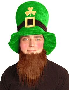 555347d8e5a2b ST PATRICKS DAY LEPRECHAUN HAT AND BEARD IRISH TRI COLOUR IRELAND REPUBLIC  EIRE Leprechaun Hats