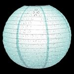 "12"" Round Eyelet Lace Look Paper Lantern - Cool Mint Green - 2.45"