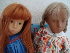 Absolutely Sasha: The blonde girl is a 1965 no seam torso yellow eye Gotz and the redhead is a pale skin saucer eye doll.