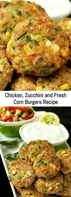 Chicken, Zucchini and Fresh Corn Burgers Recipe – Sanji Recipe Cooking Recipes, Healthy Recipes, Fresh Corn Recipes, Keto Recipes, Cooking Videos, Healthy Dinners, Cooking Tips, Ground Chicken Recipes, Ground Chicken Casserole