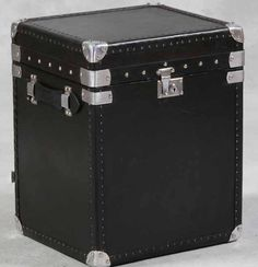 Black Leather Trunk - - Hicks and Hicks Suitcase, Trunks, Black Leather, Storage, Interior, Foot Stools, Collection, Side Tables, Boxes
