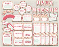 Baby Shower Printable Complete Package Pink by PixieBabyShower Flower Games, Wishes For Baby, Gift Table, Baby Shower Printables, Blue Flowers, Packaging, Handmade Gifts, Pink, Etsy