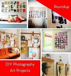 10 DIY Photography Wall Art Projects - I like the wood frame behind the couch, with the wooden hangers holding the photos! neat!