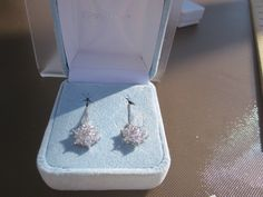Sterling Silver Pierced Dangle Earring with Cubic Zirconia Flower by Klcvintagetreasures on Etsy