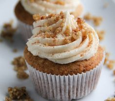 Maple Walnut Cupcakes with Creamy Maple Frosting