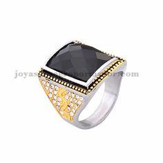 anillo de piedra negra en acero plateado inoxidable -SSRGG371857