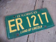Plaque d'immatriculation Vintage Illinois 1963 par AMarigoldLife