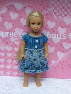 American Girl - Our Generation mini dolls hand knitted dress by 4THELOVEOFDOLLS on Etsy