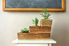 Handmade Reclaimed Wood Planter Box Unique 3 Tiered Design Air Plant Or…
