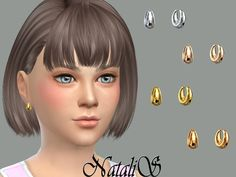 The Sims Resource: Child metal beads earrings by NataliS • Sims 4 Downloads