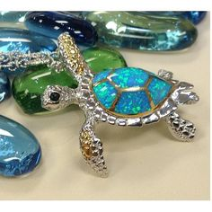 Sea turtle with blue opal