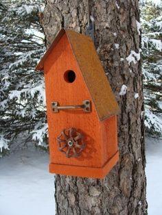 Rustic Orange Birdhouse Recycled Vintage Farm by baconsquarefarm Unique Garden Decor, Outdoor Garden Decor, Unique Gardens, Large Bird Houses, Wooden Bird Houses, Decorative Bird Houses, Bird Houses Diy, Metal Roof Houses, Birdhouse Designs