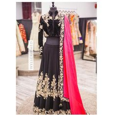 How stunning is this black lengha? We love the colour contrast between the hot pink and black on the dupatta! This lengha has lace and dori work and is paired with a beautiful velvet blouse! All of our pieces are customizable to meet your requirements and personal style! Email us at sales@wellgroomed.ca Out of the country? We've got you covered! We offer phone and skype consultations as well! Drop by one of our retail locations:  6028 Stevenson Blvd, Fremont California  Unit 321-8218 128…