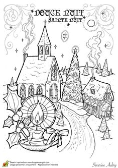 Coloring page of a Christmas carol, Silent Night - Hugolescargot.com
