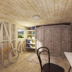 Garden Storage Shed Plans - Pin-Up Houses - garden-storage-shed-interior-idea - Building Costs, Building A Tiny House, Garden Storage Shed, Storage Shed Plans, Blueprint Construction, Shed With Porch, Shed Blueprints, Shed Interior, Studio Shed