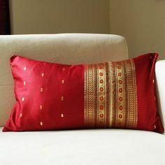 reuse saree Indian Home Interior, Indian Home Decor, Cushion Cover Designs, Cushion Covers, Home Decor Furniture, Diy Home Decor, Furniture Ideas, Room Decor, Gold Pillows