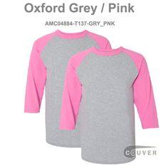107e01e8 Oxford grey / Pink Champion Men's Raglan Baseball T-Shirt - 2 Pieces Set