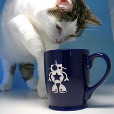Cat with Robot Mug by Bread and Badger