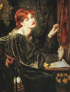Veronica Veronese, 1872 by Dante Gabriel Rossetti. Dante Gabriel Rossetti was an English poet, illustrator, painter and translator. He founded the Pre-Raphaelite Brotherhood in 1848 with William Holman Hunt Dante Gabriel Rossetti, John William Waterhouse, John Everett Millais, Art And Illustration, Illustrations, Gustav Klimt, Pre Raphaelite Paintings, Pre Raphaelite Brotherhood, Johannes Vermeer