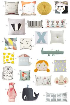"23 kids pillows! I can see doing one of these for the ""tooth fairy"" pillow... cause that one has to be special :)"