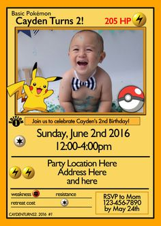 Pokemon Card Invitation by designsbyjayhawaii on Etsy https://www.etsy.com/listing/233956154/pokemon-card-invitation