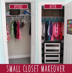 "Kid's Room: Small Closet Makeover on a Budget Be sure to visit our board ""Bedroom Closet Organization"" for more! Small Coat Closet, Small Wardrobe, Small Closets, Kid Closet, Closet Bedroom, Budget Bedroom, Closet Space, Front Closet, Open Closets"