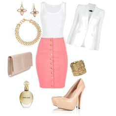 Coral, white and gold, created by #andylyssascarlett28 on polyvore.com