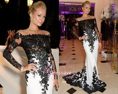 Wholesale 2015 Sexy Sheer Long Sleeves Black White Evening Dresses Mermaid Lace Court Train Celebrity Red Carpet Prom Gowns BO6607, Free shipping, $127.69/Piece | DHgate Mobile