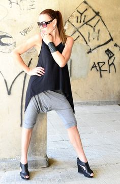 NEW Collection Loose Cotton 3/4 Grey Harem Pants / by EUGfashion