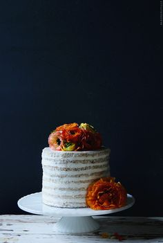 This coconut mango cake would be a great addition to a summer #wedding! From http://bakersroyale.com/cakes/coconut-mango-cake/  Photo Credit: http://bakersroyale.com
