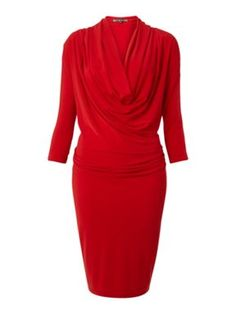 Biba Cowl front batwing sleeve dress Red - House of Fraser